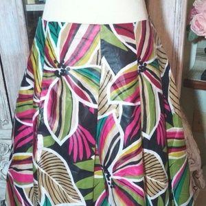 Retro Hawaiian Skirt 100% Polished Cotton Pleated